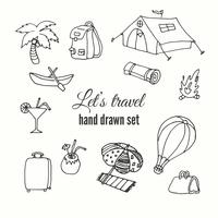 Hand drawn travel elements set