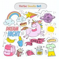 Vector Colorful Doodle Set