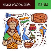 Jour de la République indienne Doodle Icon Set. Style dessiné à la main de vecteur
