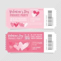 Vektor-Valentinstag-Party-Tickets