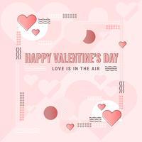 Fondo del estilo de Memphis del día de tarjeta del día de San Valentín del vector