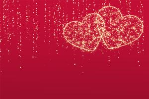 two sparkle love hearts on red background