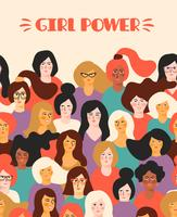 Girl power. Vector template.