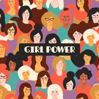 Girl power. Vector template.