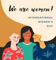 International Womens Day. Vector template with women.