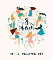 International Women s Day. Vector template with cute women.