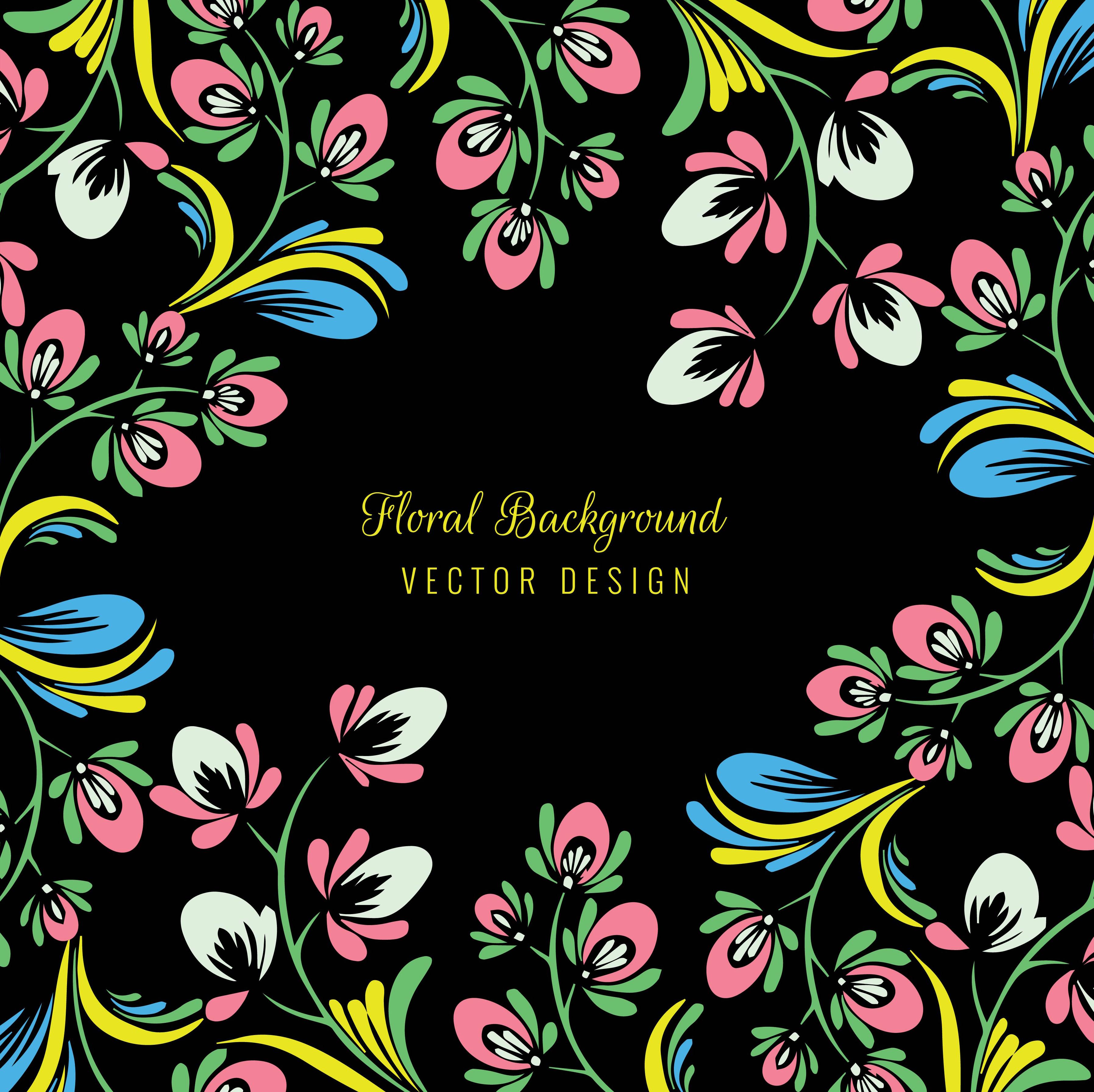 Elegant Ornament Colorful Floral On A Black Background Download