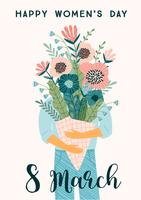 International Women s Day. Vector template with bouquet of flowers.