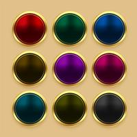 set of color metallic golden buttons
