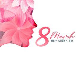 poster di giornata delle donne con volto di ragazza realizzato con fiore