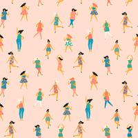 Vector illustration of dancing women. Seamless pattern.