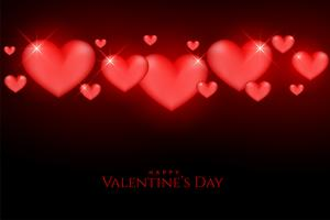 beautiful valentines day glowing red hearts on black background