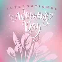 International Womens Day. Lettering design with flowers