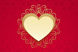 heart with golden floral decoration in vintage style
