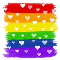 Corações no fundo aquarela do arco-íris