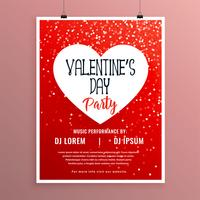 valentines day party celebration red flyer template