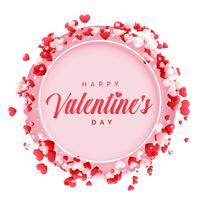 cadre heureux Saint Valentin avec fond de coeurs