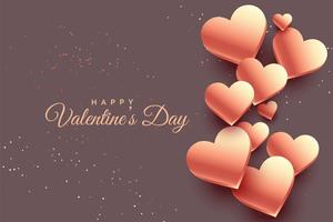 3d rose gold hearts valentine day background