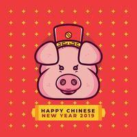Vetor de porco chinês ano novo
