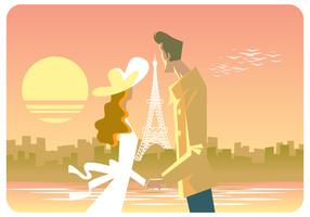 Couple In Paris Vector