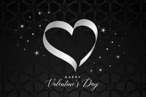 black background with ribbon heart for valentines day