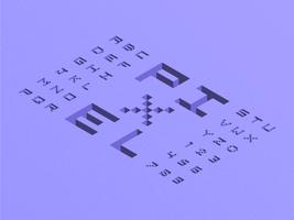 Alfabeto isométrico del pixel 3D