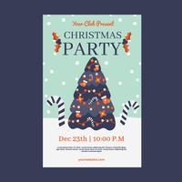 Cuter Christmas Flyer Template With Tree And Snow