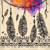 Patrón étnico de plumas vintage, diseño tribal, tatuaje