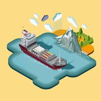 Isometric shipping maritime transport logistics map vector