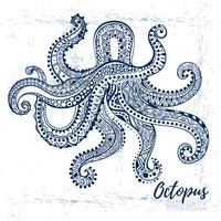 Vector drawing  octopus with ethnic patterns of Aboriginal Australia.