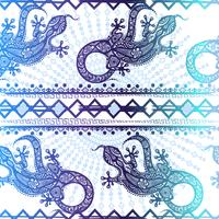 Vector vintage seamless ethnic pattern image lizards and lines