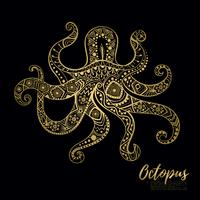 Vector drawing  octopus with ethnic patterns of Aboriginal Australia