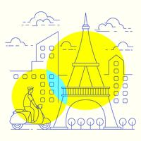 Minimal line art illustration of Paris