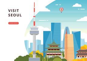 Besök Seoul Illustration