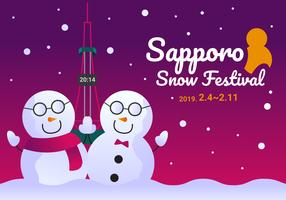 Incroyable vecteurs du festival de la neige de Sapporo