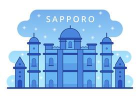 vector de nieve de invierno de Sapporo hito