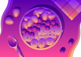 Simpe Summertime Acai Bowl Vector