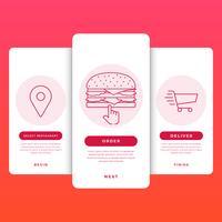 Pedir comida en línea Línea de tiempo Plantilla de aplicación móvil Ilustración