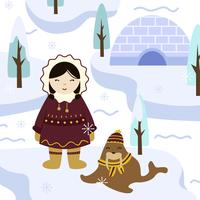 Eskimos Girl in Traditional Clothes Vector