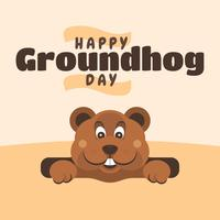 Happy Groundhog Day Greeting Cards Design Template