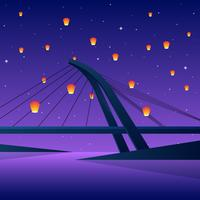 Sky Lantern Festival On Lover's Bridge Taiwan Vector Illustration