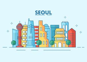 Colorful Seoul City Skyline Vector