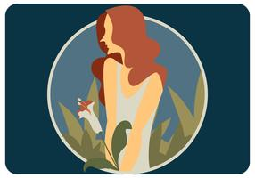 Red Hair Girl With White Flower Vector