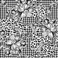 Eclectic fabric seamless pattern. Animal and plaid background with baroque ornament.