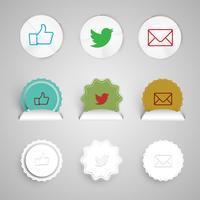 Botones de compartir hechos de papel, vector