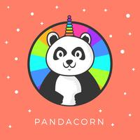 Platt Söt Panda Unicorn Wannabe Vektor Clipart Illustration