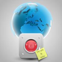 No mates al mundo vectorial con botón y papel.
