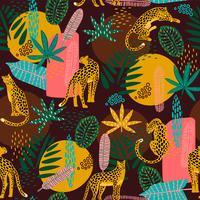 Vestor sömlöst mönster med leoparder och abstrakta tropiska löv.