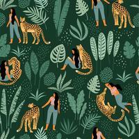 Vector naadloos patroon met vrouwen, luipaarden en tropische bladeren