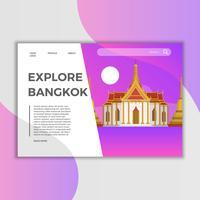 Plantilla plana del vector de la página de aterrizaje de Bangkok